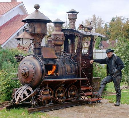 Steampunk locomotive BBQ