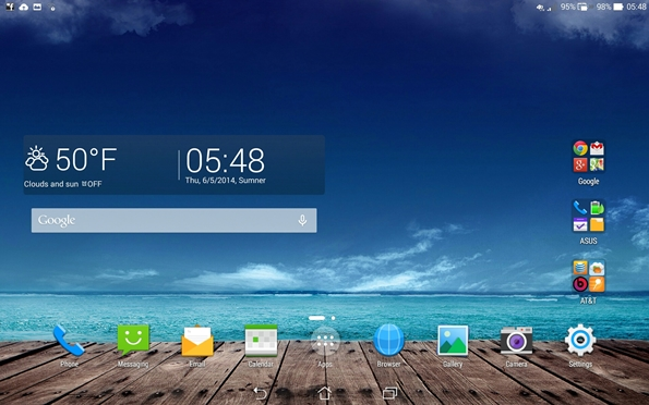 PadFone X Station home screen view