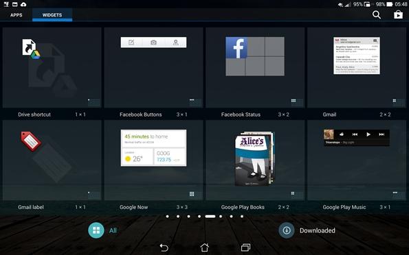 PadFone X Station widget selector