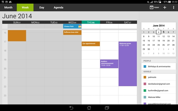 PadFone X Station calendar view