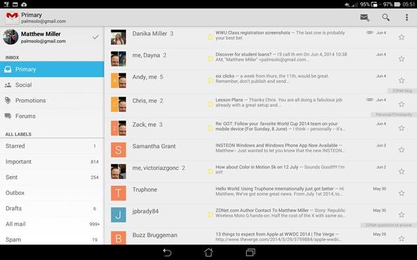 PadFone X Station Gmail view
