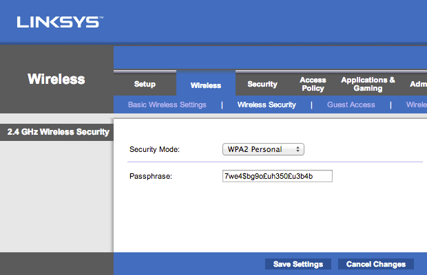 Set the wifi security to WPA2