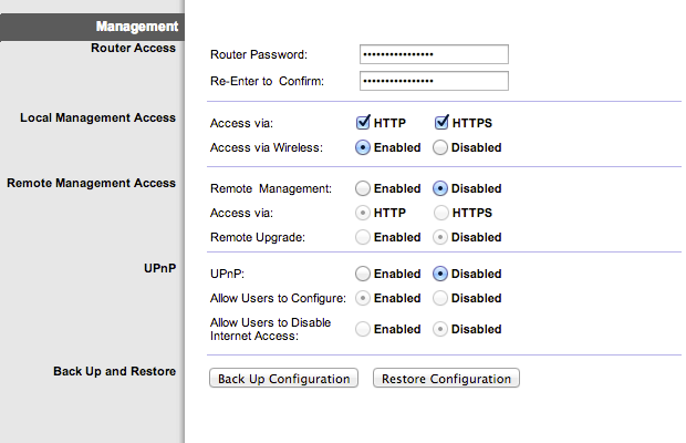 Disable remote access, UPnP