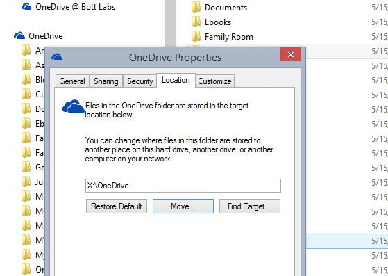 Move the OneDrive folder