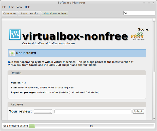 Installing VirtualBox with Mint Software Manager