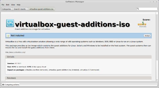 Installing VirtualBox guest addons
