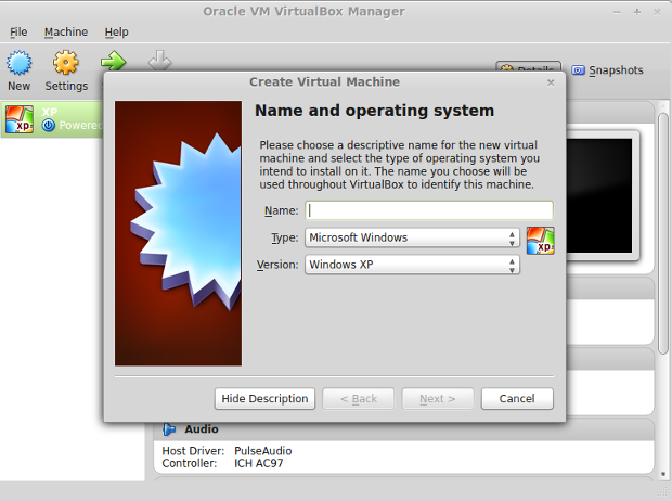 The Main VirtualBox menu