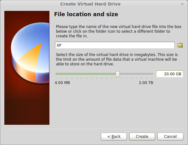 Setting your virtual hard drive size