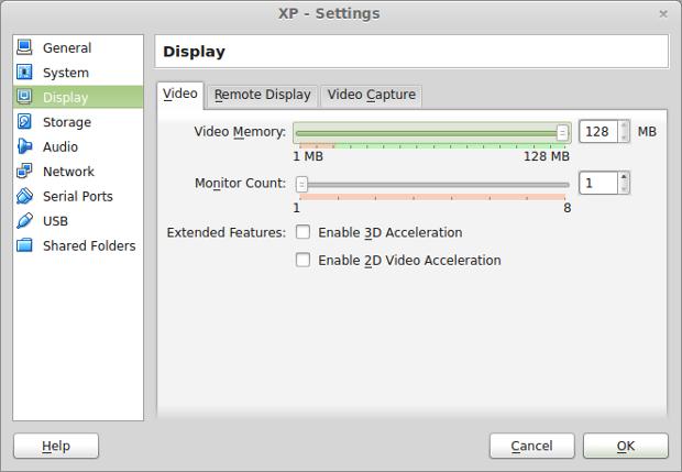 Adding video memory to my XP virtual machine