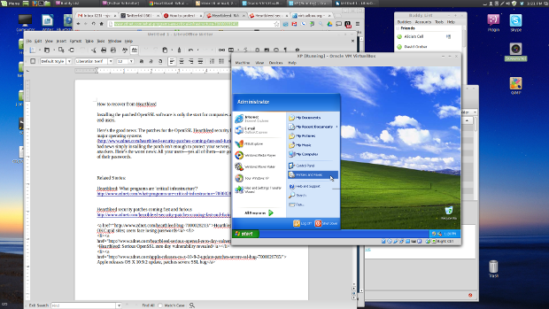 Hurray! Windows XP running on top of Linux Mint