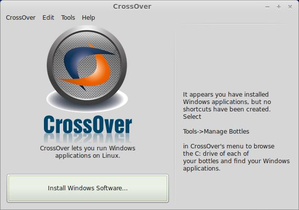 Starting CrossOver Windows program installation