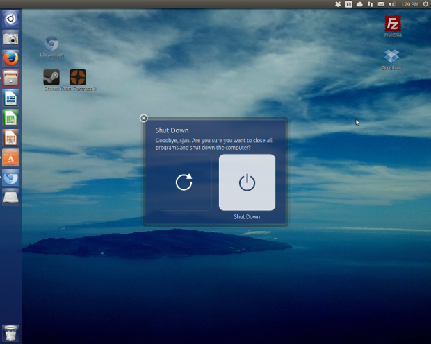 When day is done, Ubuntu makes it easy to turn the system off.