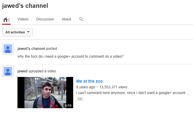 YouTube comments permitted only from Google+ users