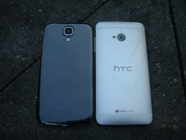 Back of the S4 and HTC One