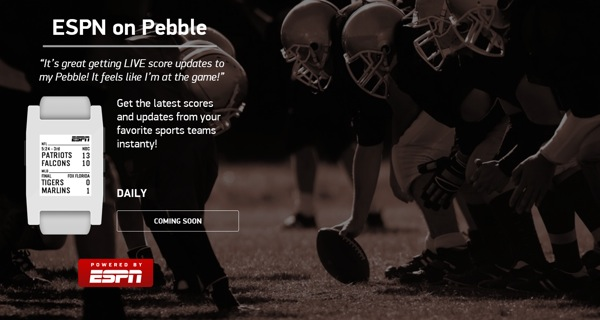 ESPN is a new Pebble partner