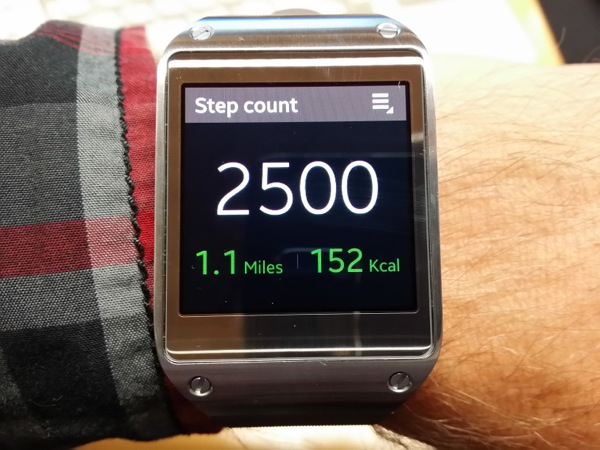 Pedometer app on the Gear