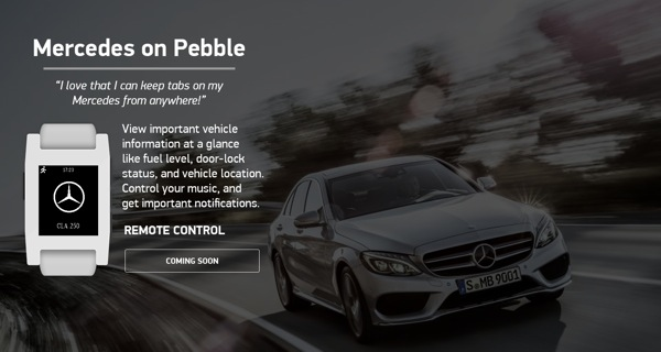 Mercedes-Benz will be launching Pebble apps