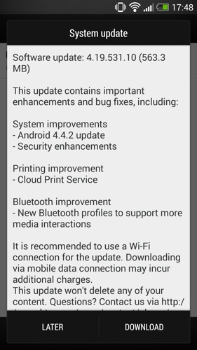 T-Mobile's HTC One update notification