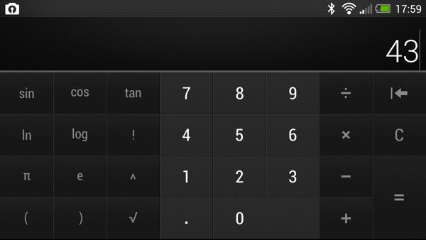Calculator on Sense 5 One