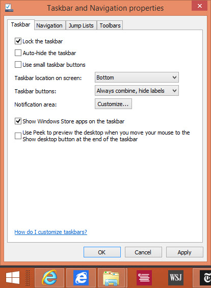 Desktop programs and Windows Store apps on the same taskbar