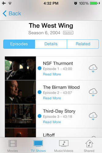 iCloud content streaming
