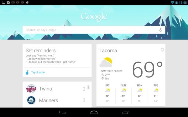 Google Now in landscape orientation