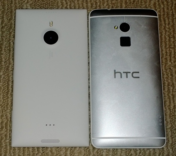 Back of Lumia 1520 and HTC One Max