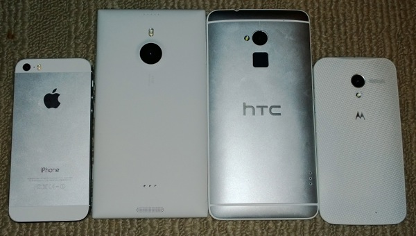 iPhone 5s, Lumia 1520, HTC One Max, and Moto X