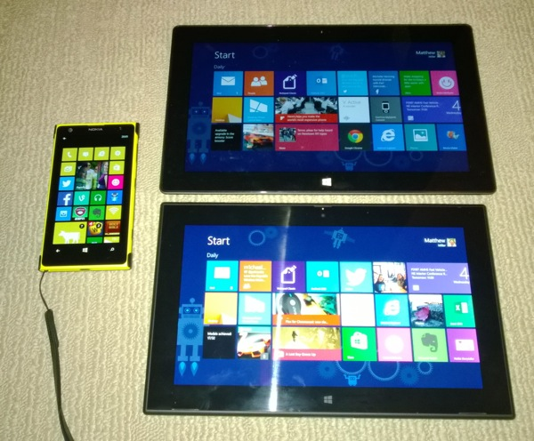 Lumia 1020, Surface Pro, and Lumia 2520 family pose