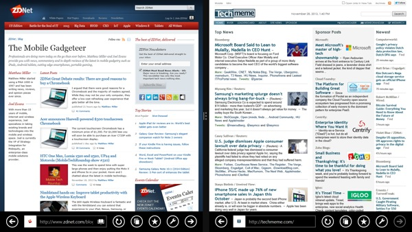 Side-by-side web browsing