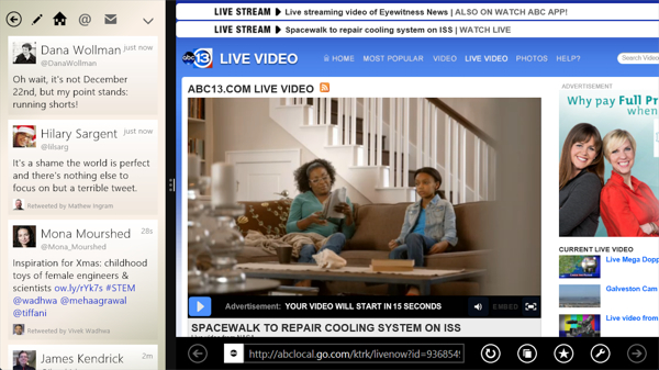 Tweetium for Windows 8.1 (snap view)