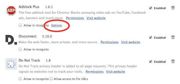 Chrome AdBlock Options