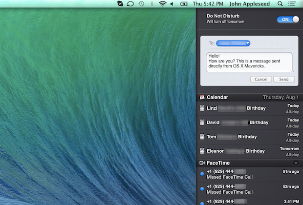 Additional features in Notification Center