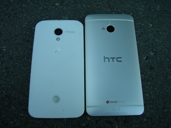 Back of the Moto X and HTC One