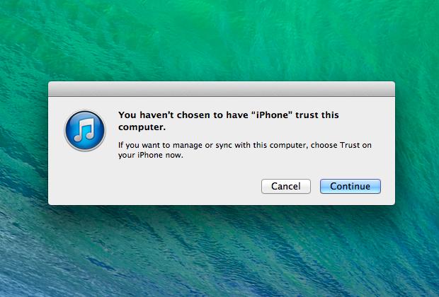 Enabling iPhone, iPad device trust