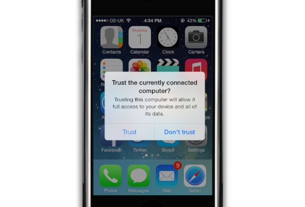Approving trust on the iPhone, iPad