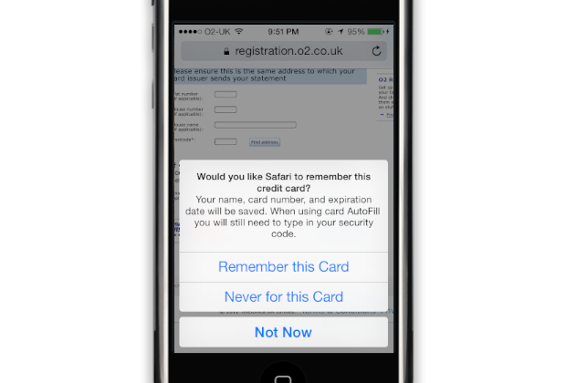 iCloud Keychain: Remembering card payment details