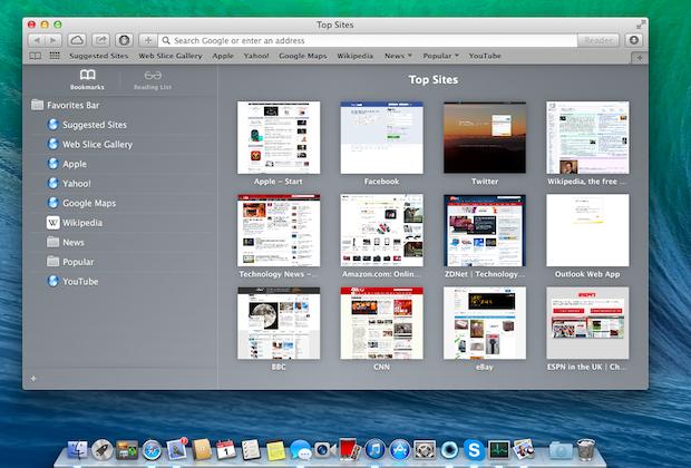 Safari: New start screen; top sites