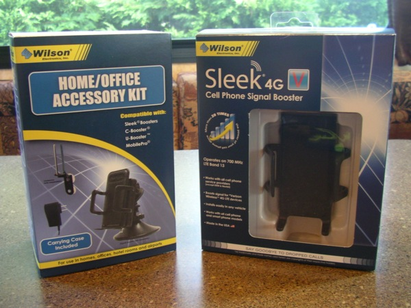 Wilson Electronics Sleek 4G-V and home/office accessory kit retail packages
