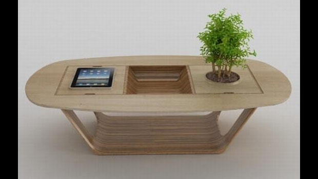 A touchscreen coffee table