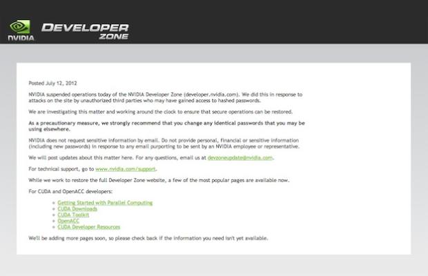 Nvidia developer forums hacked, company investigates