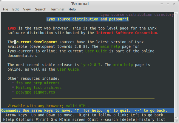 Lynx: An early character-based web browser