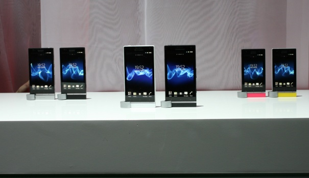 The Xperia NXT smartphone family, front centre -Xperia S, rear left Xperia P, rear right -Xperia U
