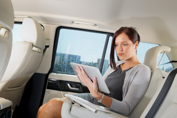 Tablet in a taxi