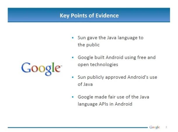 Google's key points of evidence