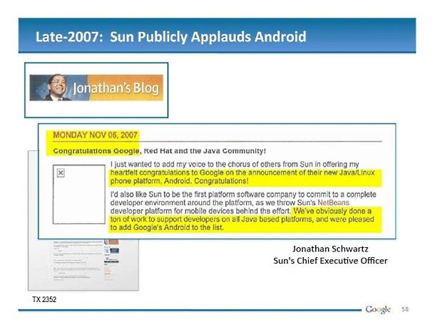 Sun applauds Android