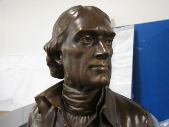 Thomas Jefferson in bronze face