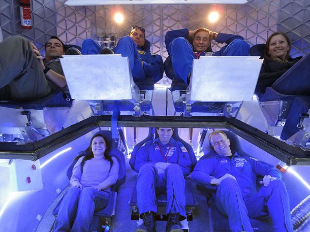 Astronauts aboard the Dragon capsule