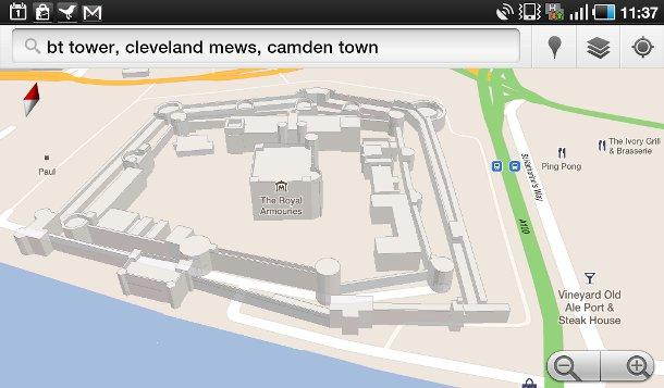 Tower of London on Google Maps 3D on Android