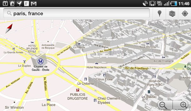Arc de Triomphe on Google Maps 3D on Android